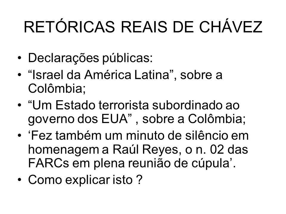 RETÓRICAS REAIS DE CHÁVEZ Declarações públicas: Israel da América Latina, sobre a Colômbia; Um Estado terrorista subordinado ao governo dos EUA, sobre