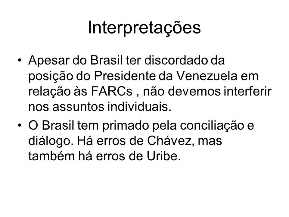 Interpretações Apesar do Brasil ter discordado da posição do Presidente da Venezuela em relação às FARCs, não devemos interferir nos assuntos individu