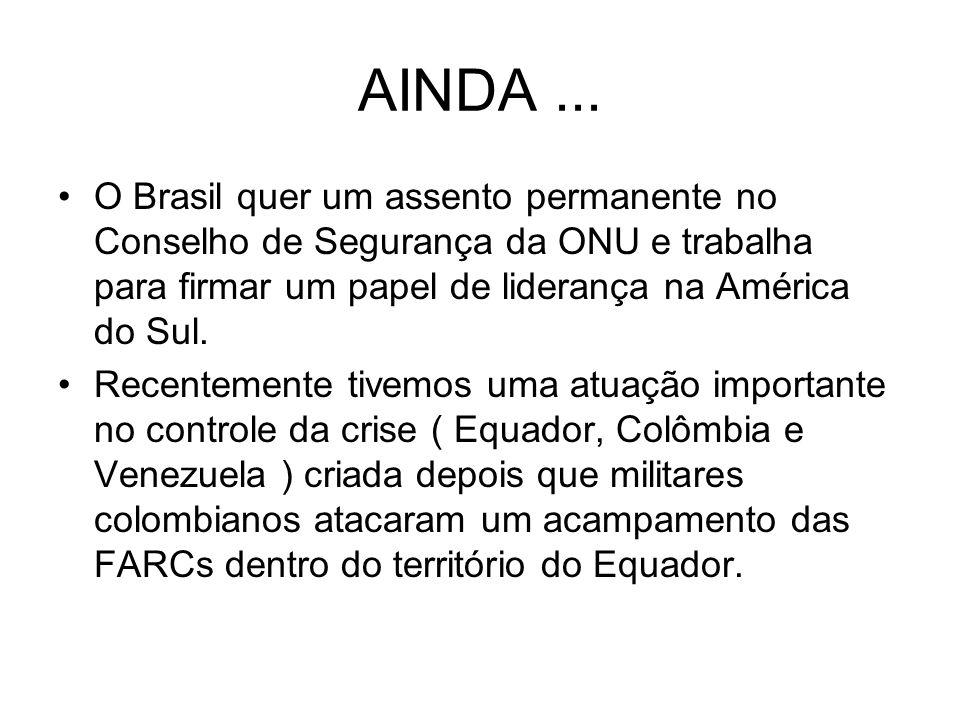 AINDA... O Brasil quer um assento permanente no Conselho de Segurança da ONU e trabalha para firmar um papel de liderança na América do Sul. Recenteme