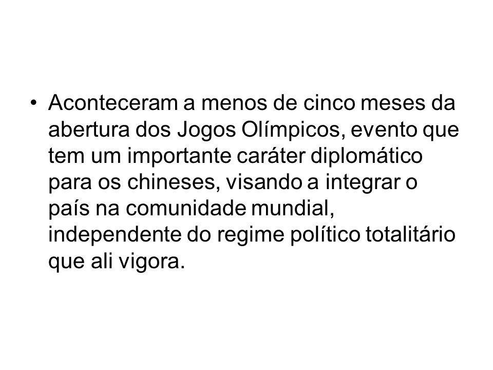 Aconteceram a menos de cinco meses da abertura dos Jogos Olímpicos, evento que tem um importante caráter diplomático para os chineses, visando a integ