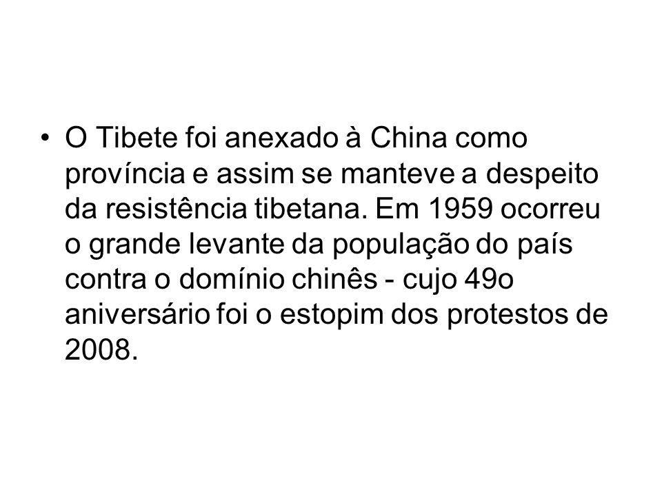 O Tibete foi anexado à China como província e assim se manteve a despeito da resistência tibetana. Em 1959 ocorreu o grande levante da população do pa