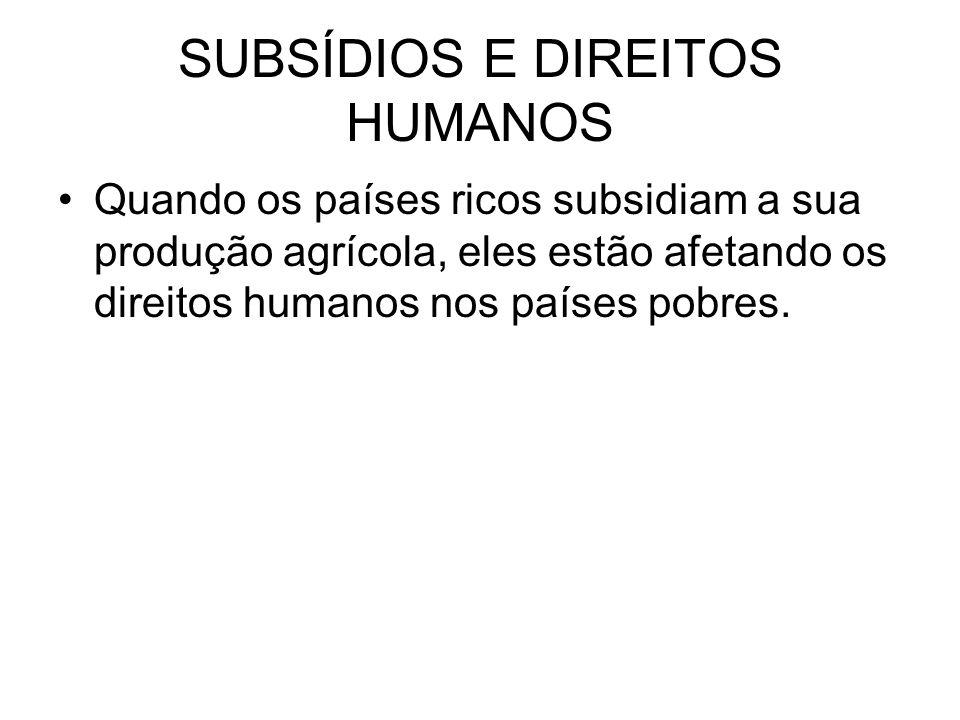 SUBSÍDIOS E DIREITOS HUMANOS Quando os países ricos subsidiam a sua produção agrícola, eles estão afetando os direitos humanos nos países pobres.