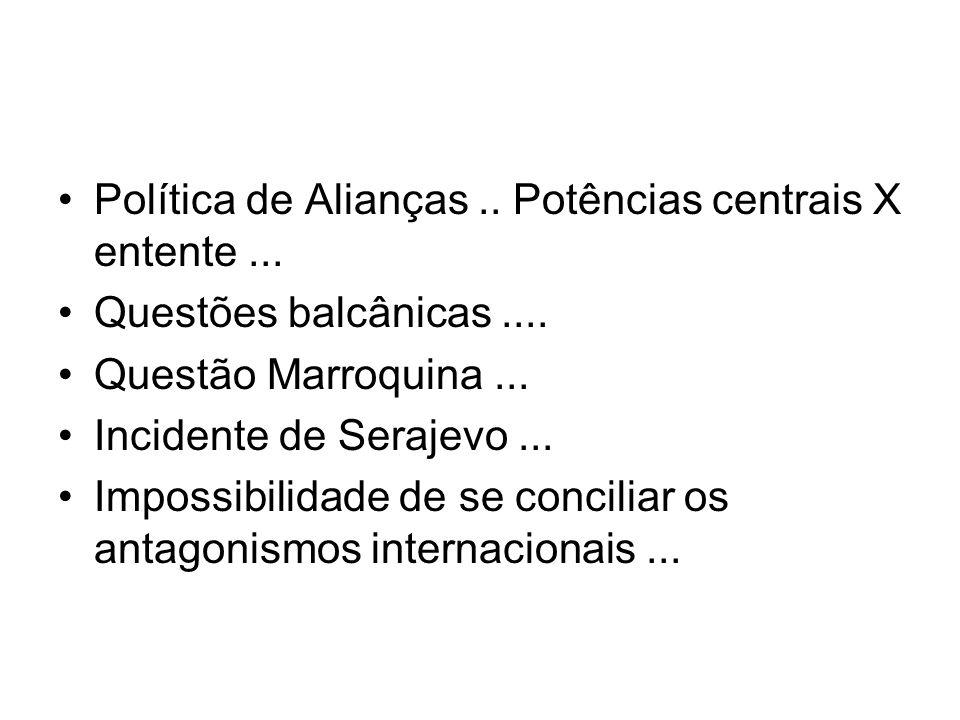 Política de Alianças.. Potências centrais X entente... Questões balcânicas.... Questão Marroquina... Incidente de Serajevo... Impossibilidade de se co