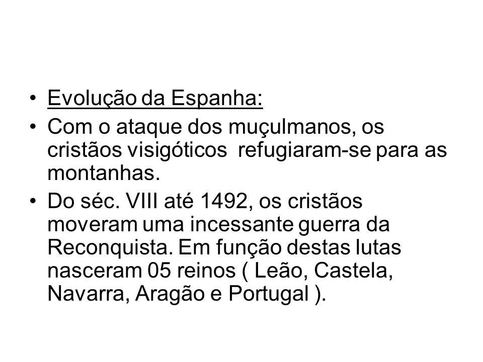 Evolução da Espanha: Com o ataque dos muçulmanos, os cristãos visigóticos refugiaram-se para as montanhas. Do séc. VIII até 1492, os cristãos moveram
