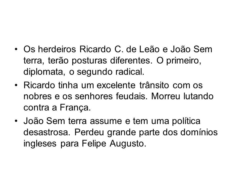 Os herdeiros Ricardo C. de Leão e João Sem terra, terão posturas diferentes. O primeiro, diplomata, o segundo radical. Ricardo tinha um excelente trân