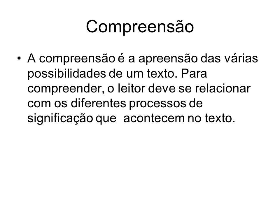Compreensão A compreensão é a apreensão das várias possibilidades de um texto. Para compreender, o leitor deve se relacionar com os diferentes process