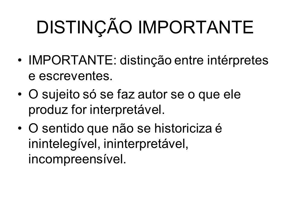 DISTINÇÃO IMPORTANTE IMPORTANTE: distinção entre intérpretes e escreventes. O sujeito só se faz autor se o que ele produz for interpretável. O sentido