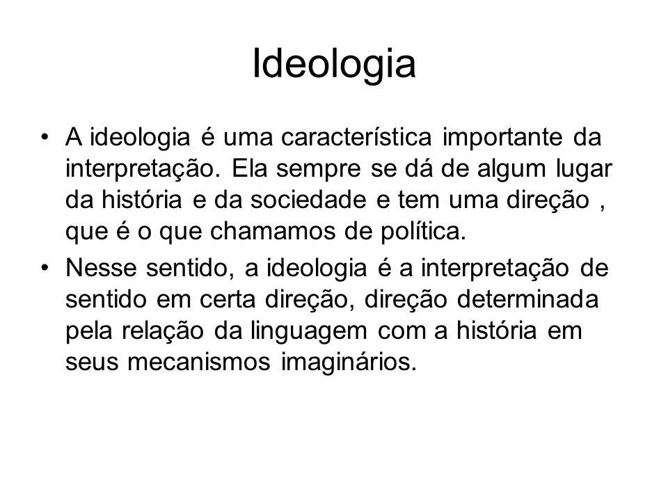 Ideologia A ideologia é uma característica importante da interpretação. Ela sempre se dá de algum lugar da história e da sociedade e tem uma direção,