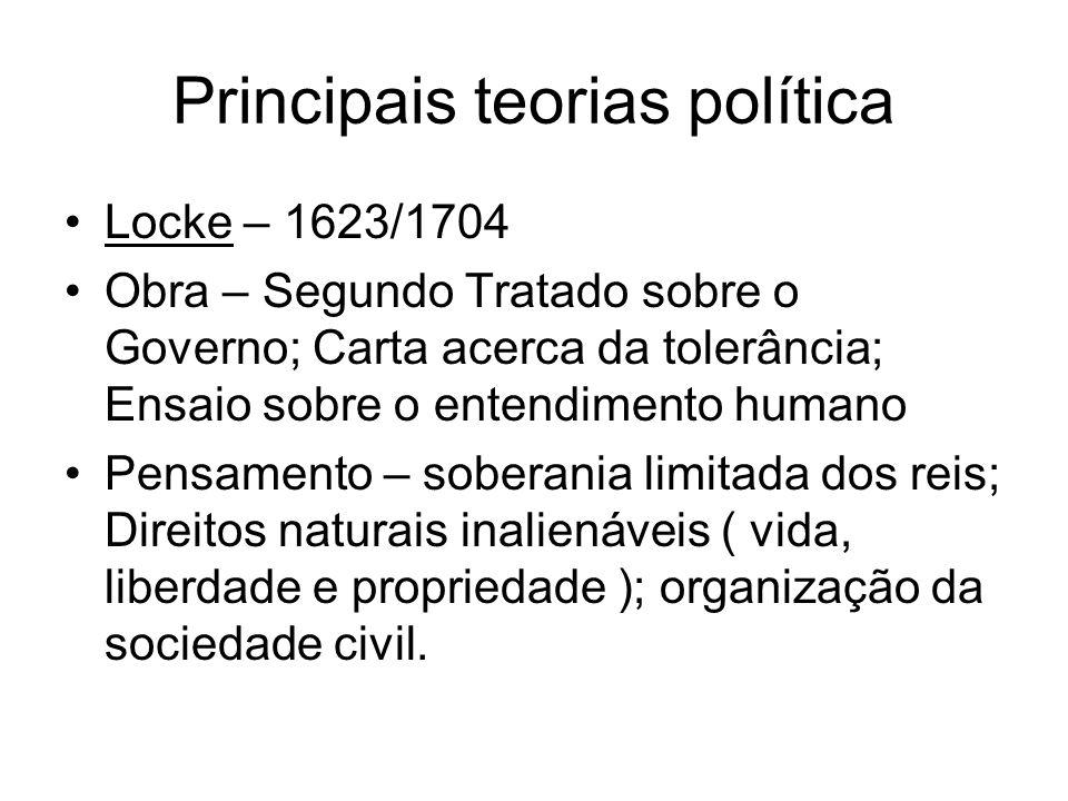 Principais teorias política Locke – 1623/1704 Obra – Segundo Tratado sobre o Governo; Carta acerca da tolerância; Ensaio sobre o entendimento humano P
