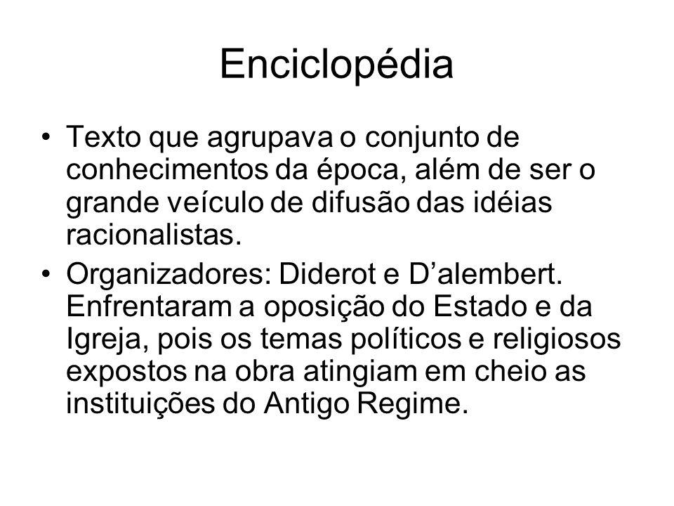 Enciclopédia Texto que agrupava o conjunto de conhecimentos da época, além de ser o grande veículo de difusão das idéias racionalistas. Organizadores:
