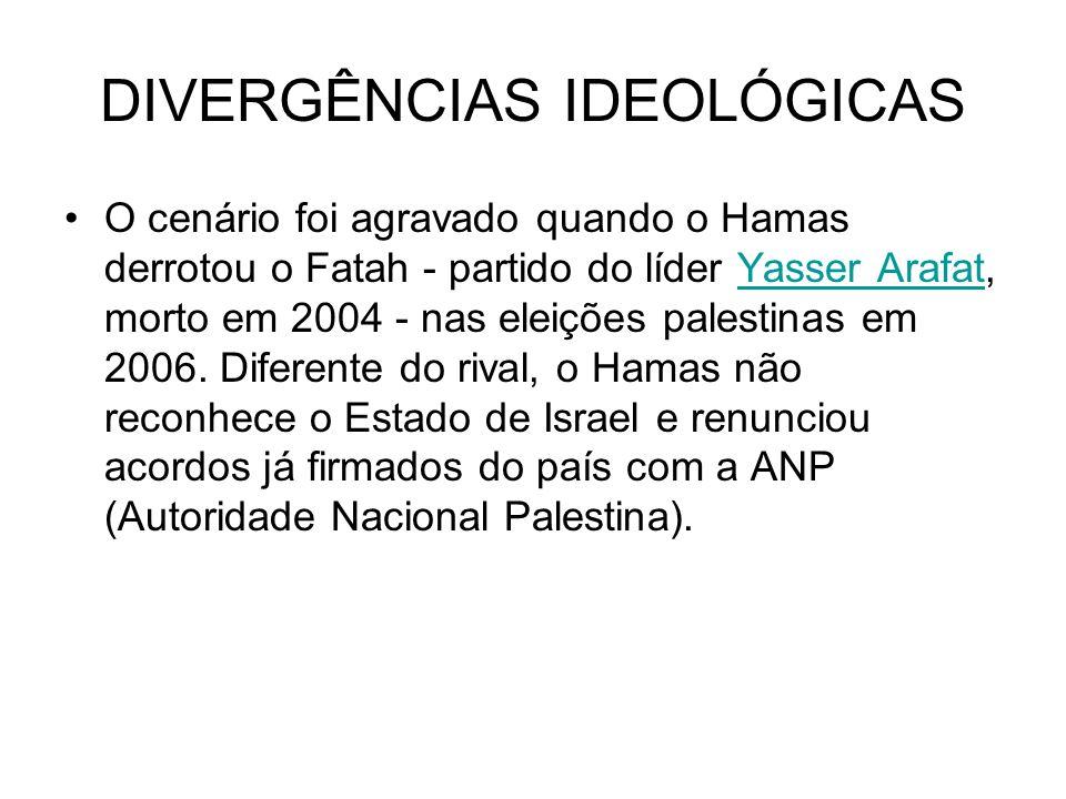 DIVERGÊNCIAS IDEOLÓGICAS O cenário foi agravado quando o Hamas derrotou o Fatah - partido do líder Yasser Arafat, morto em 2004 - nas eleições palesti