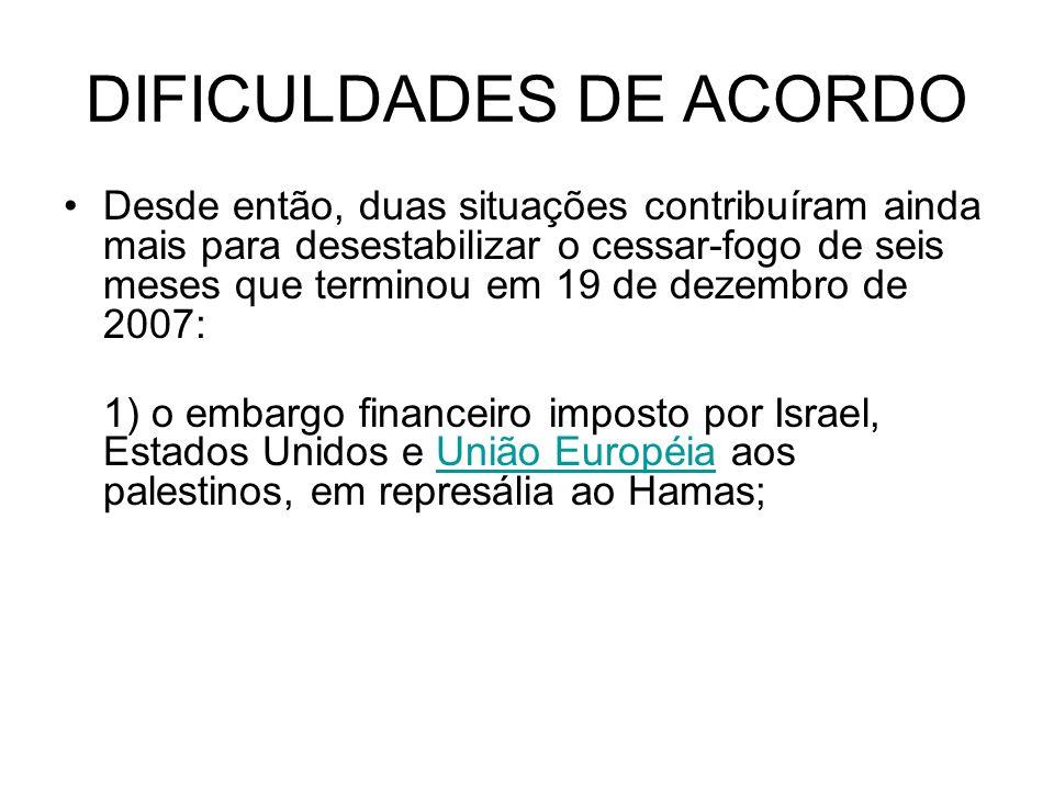 DIFICULDADES DE ACORDO Desde então, duas situações contribuíram ainda mais para desestabilizar o cessar-fogo de seis meses que terminou em 19 de dezembro de 2007: 1) o embargo financeiro imposto por Israel, Estados Unidos e União Européia aos palestinos, em represália ao Hamas;União Européia
