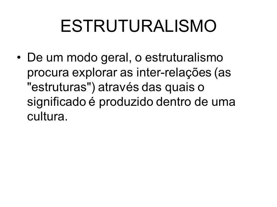 ESTRUTURALISMO De um modo geral, o estruturalismo procura explorar as inter-relações (as estruturas ) através das quais o significado é produzido dentro de uma cultura.