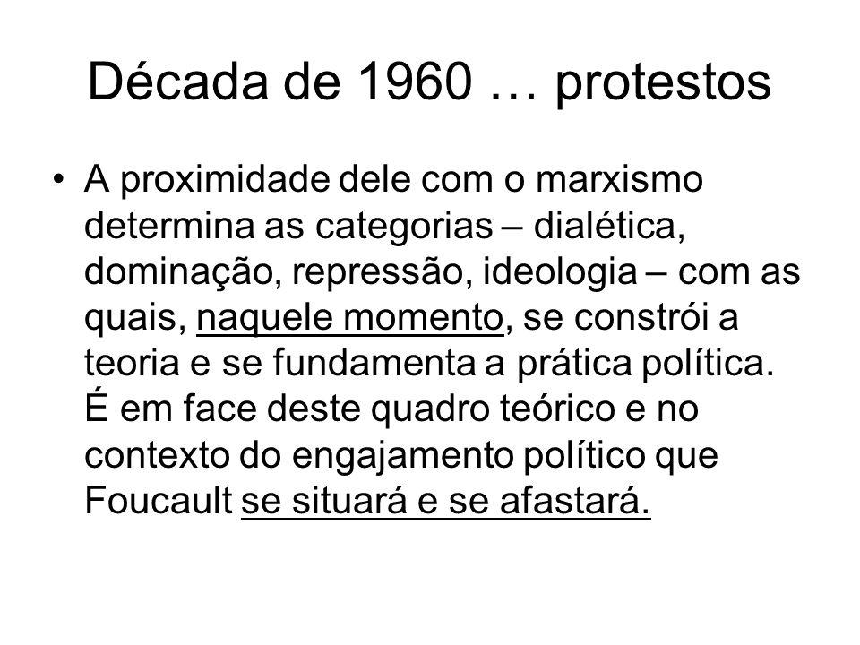 Década de 1960 … protestos A proximidade dele com o marxismo determina as categorias – dialética, dominação, repressão, ideologia – com as quais, naquele momento, se constrói a teoria e se fundamenta a prática política.