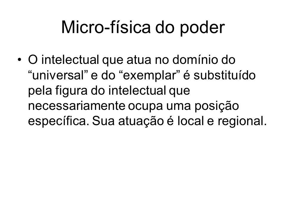 Micro-física do poder O intelectual que atua no domínio do universal e do exemplar é substituído pela figura do intelectual que necessariamente ocupa