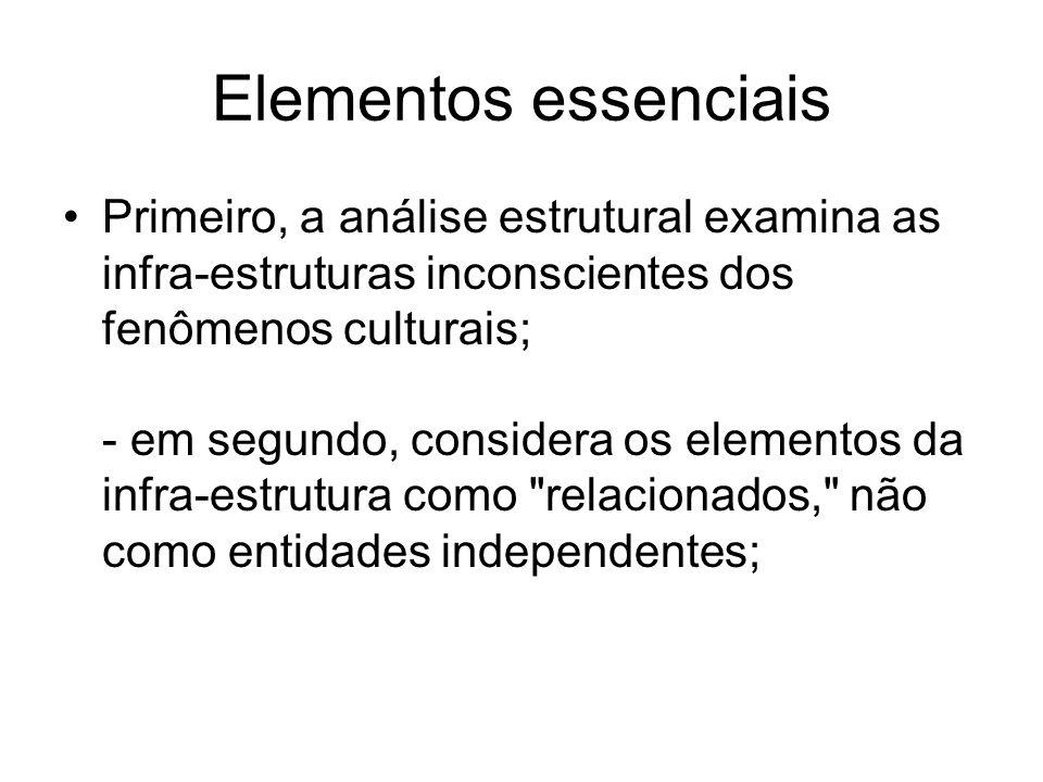 Elementos essenciais Primeiro, a análise estrutural examina as infra-estruturas inconscientes dos fenômenos culturais; - em segundo, considera os elementos da infra-estrutura como relacionados, não como entidades independentes;