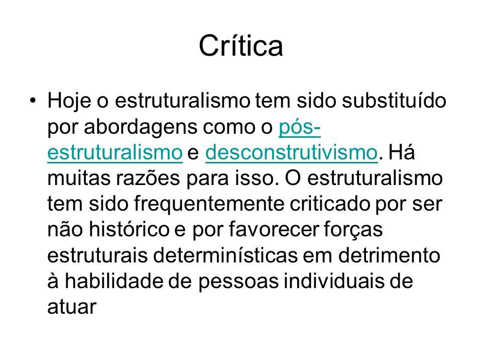 Crítica Hoje o estruturalismo tem sido substituído por abordagens como o pós- estruturalismo e desconstrutivismo. Há muitas razões para isso. O estrut