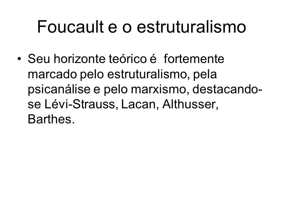 Foucault e o estruturalismo Seu horizonte teórico é fortemente marcado pelo estruturalismo, pela psicanálise e pelo marxismo, destacando- se Lévi-Strauss, Lacan, Althusser, Barthes.