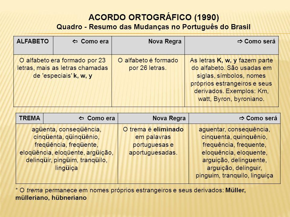 ACORDO ORTOGRÁFICO (1990) Quadro - Resumo das Mudanças no Português do Brasil ALFABETO Como era Nova Regra Como será O alfabeto era formado por 23 let
