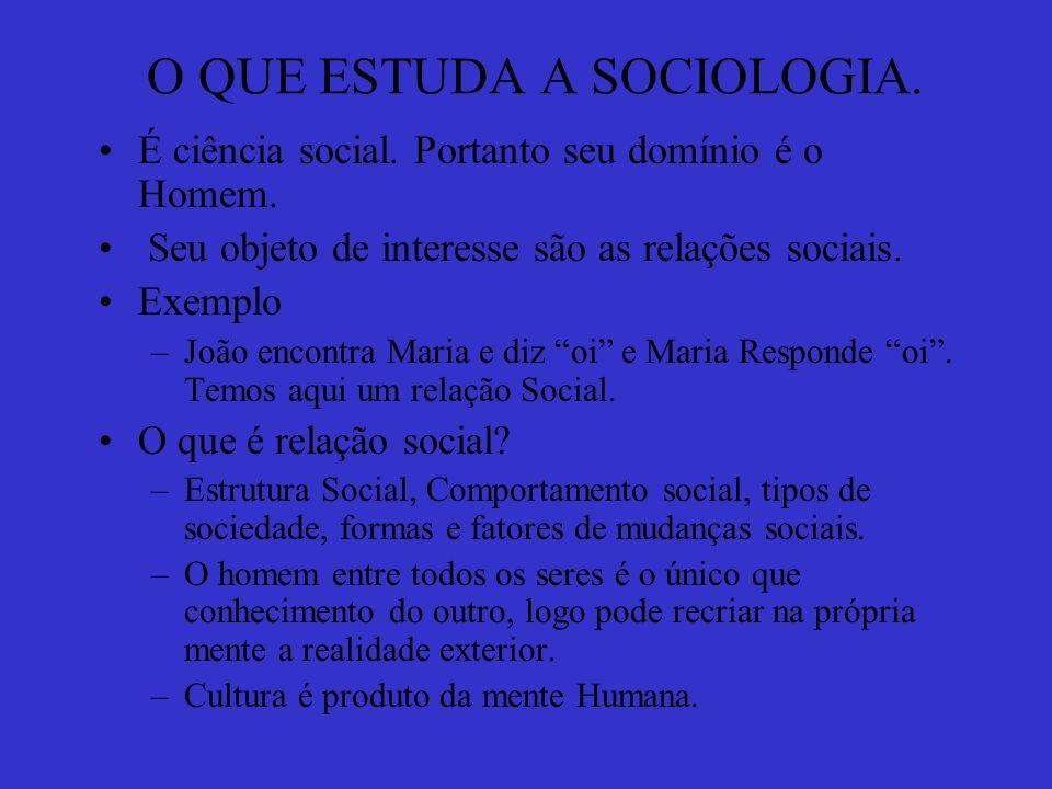 O QUE É SOCIOLOGIA.Trata-se de uma ciência Social/Humana.