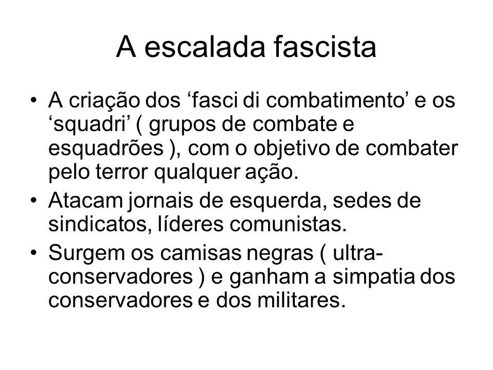 A escalada fascista A criação dos fasci di combatimento e os squadri ( grupos de combate e esquadrões ), com o objetivo de combater pelo terror qualqu