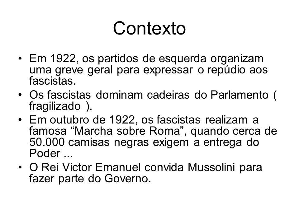 Contexto Em 1922, os partidos de esquerda organizam uma greve geral para expressar o repúdio aos fascistas. Os fascistas dominam cadeiras do Parlament