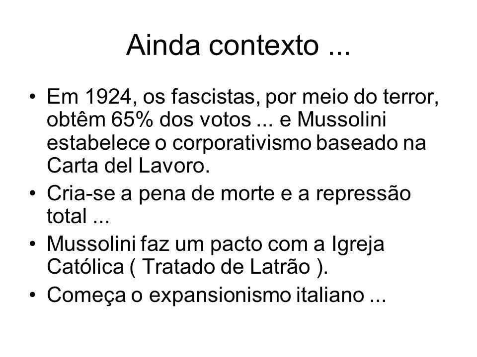 Ainda contexto... Em 1924, os fascistas, por meio do terror, obtêm 65% dos votos... e Mussolini estabelece o corporativismo baseado na Carta del Lavor