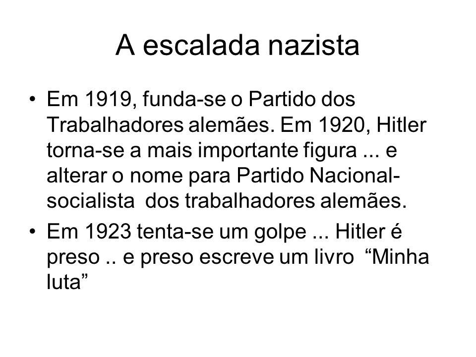 A escalada nazista Em 1919, funda-se o Partido dos Trabalhadores alemães. Em 1920, Hitler torna-se a mais importante figura... e alterar o nome para P