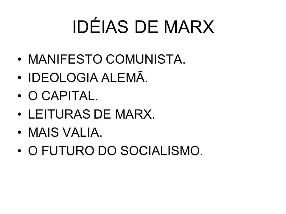 IDÉIAS DE MARX MANIFESTO COMUNISTA. IDEOLOGIA ALEMÃ. O CAPITAL. LEITURAS DE MARX. MAIS VALIA. O FUTURO DO SOCIALISMO.