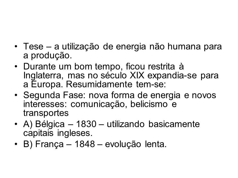 Tese – a utilização de energia não humana para a produção. Durante um bom tempo, ficou restrita à Inglaterra, mas no século XIX expandia-se para a Eur
