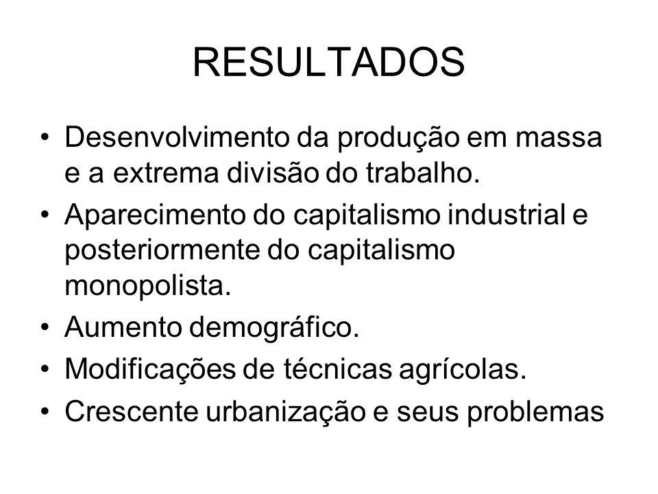 RESULTADOS Desenvolvimento da produção em massa e a extrema divisão do trabalho. Aparecimento do capitalismo industrial e posteriormente do capitalism