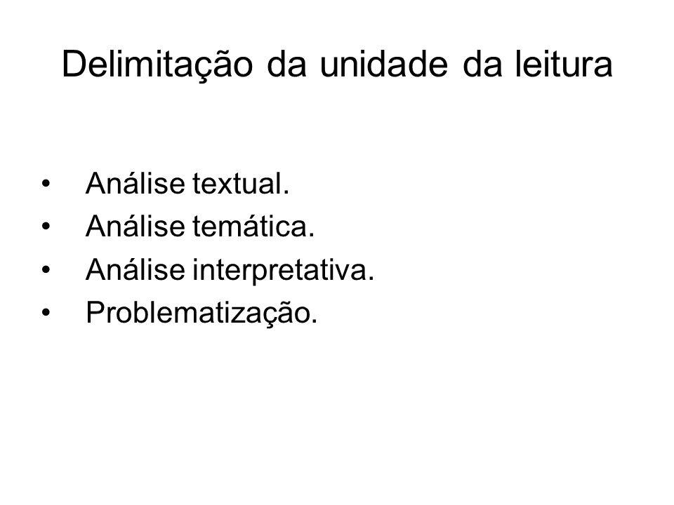 Delimitação da unidade da leitura Análise textual. Análise temática. Análise interpretativa. Problematização.