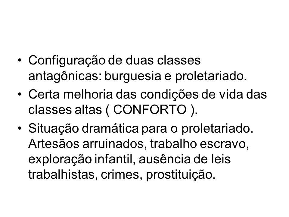 Configuração de duas classes antagônicas: burguesia e proletariado. Certa melhoria das condições de vida das classes altas ( CONFORTO ). Situação dram