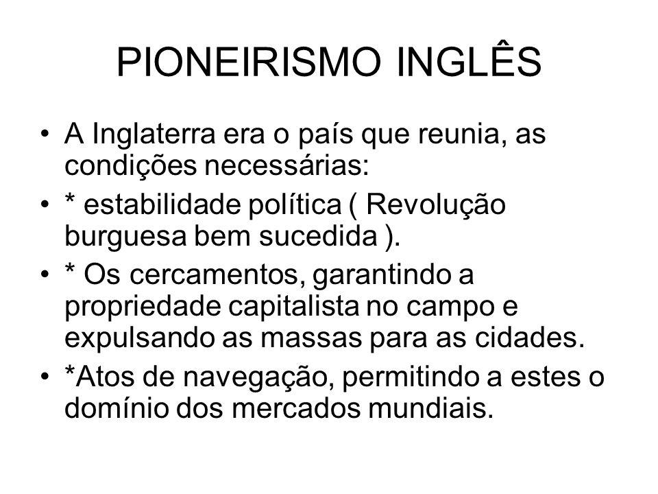 PIONEIRISMO INGLÊS A Inglaterra era o país que reunia, as condições necessárias: * estabilidade política ( Revolução burguesa bem sucedida ). * Os cer