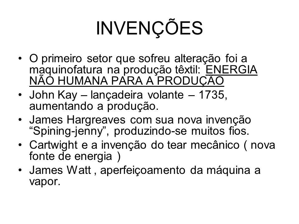 INVENÇÕES O primeiro setor que sofreu alteração foi a maquinofatura na produção têxtil: ENERGIA NÃO HUMANA PARA A PRODUÇÃO John Kay – lançadeira volan