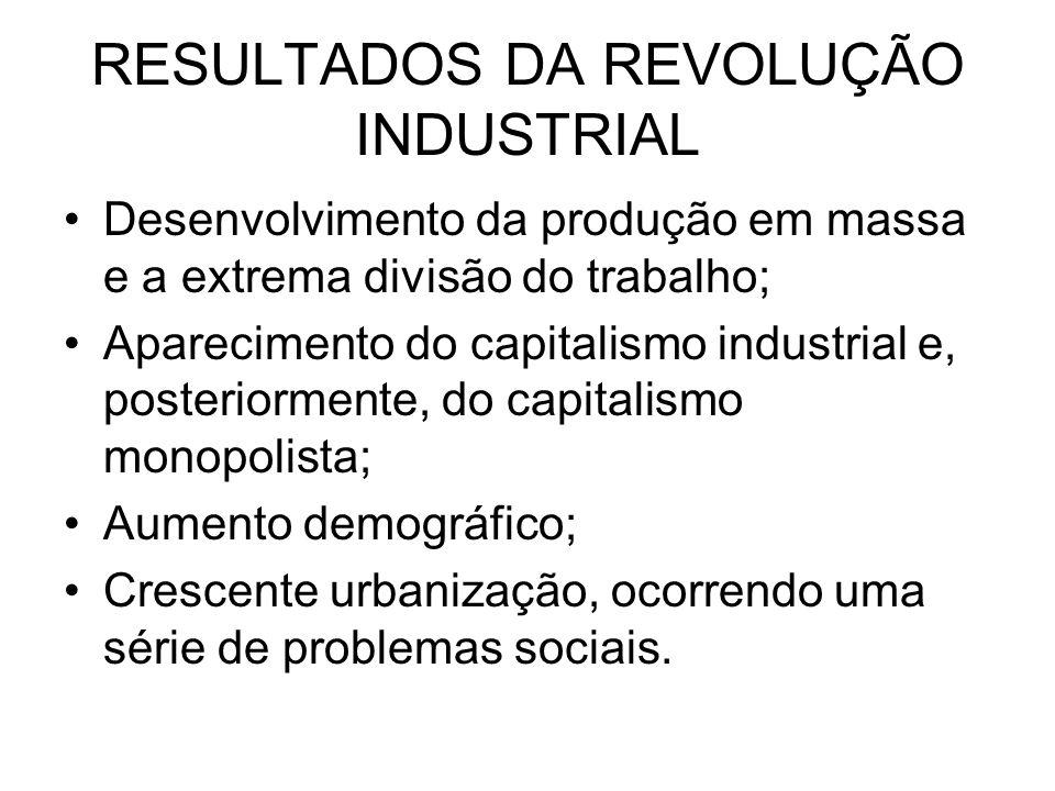 RESULTADOS DA REVOLUÇÃO INDUSTRIAL Desenvolvimento da produção em massa e a extrema divisão do trabalho; Aparecimento do capitalismo industrial e, pos