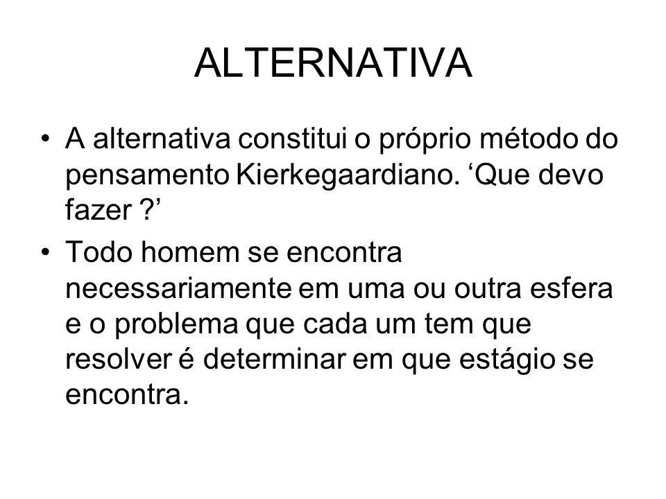 ALTERNATIVA A alternativa constitui o próprio método do pensamento Kierkegaardiano. Que devo fazer ? Todo homem se encontra necessariamente em uma ou
