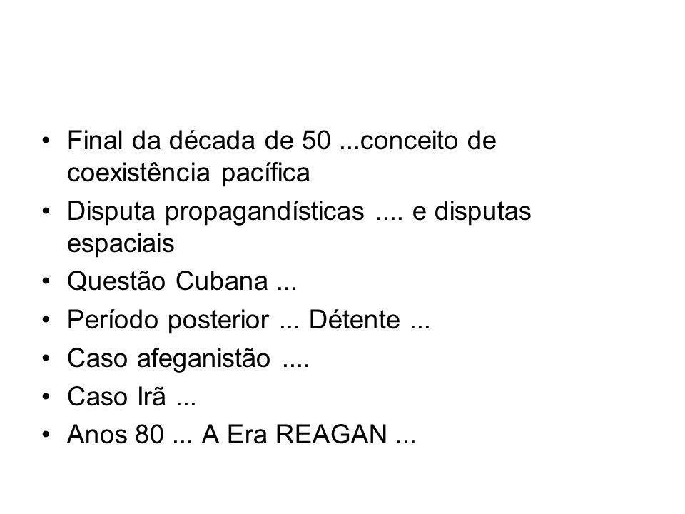 Final da década de 50...conceito de coexistência pacífica Disputa propagandísticas.... e disputas espaciais Questão Cubana... Período posterior... Dét