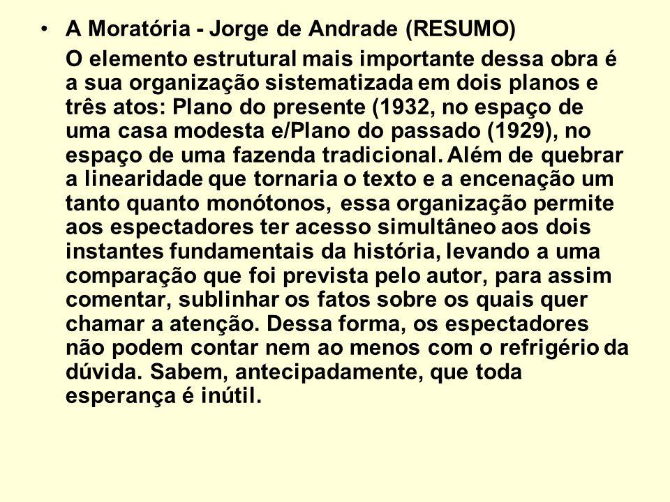 A Moratória - Jorge de Andrade (RESUMO) O elemento estrutural mais importante dessa obra é a sua organização sistematizada em dois planos e três atos: