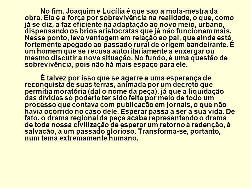 No fim, Joaquim e Lucília é que são a mola-mestra da obra. Ela é a força por sobrevivência na realidade, o que, como já se diz, a faz eficiente na ada