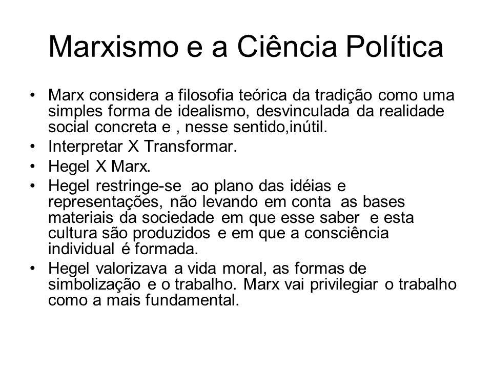 Marxismo e a Ciência Política Marx considera a filosofia teórica da tradição como uma simples forma de idealismo, desvinculada da realidade social con