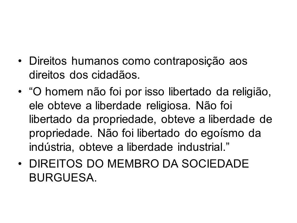 Direitos humanos como contraposição aos direitos dos cidadãos. O homem não foi por isso libertado da religião, ele obteve a liberdade religiosa. Não f