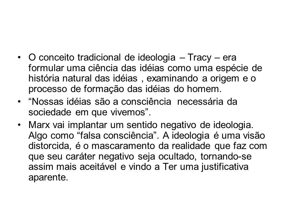 O conceito tradicional de ideologia – Tracy – era formular uma ciência das idéias como uma espécie de história natural das idéias, examinando a origem