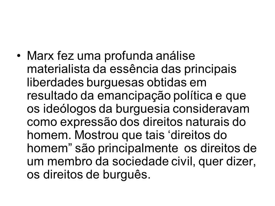 Marx fez uma profunda análise materialista da essência das principais liberdades burguesas obtidas em resultado da emancipação política e que os ideól