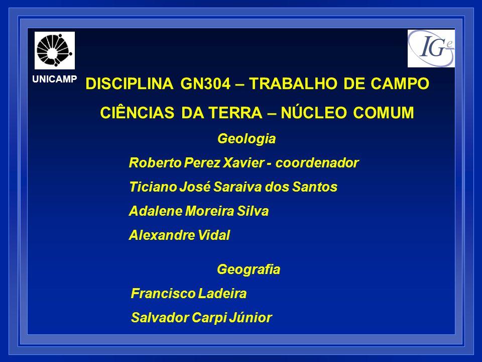 UNICAMP DISCIPLINA GN304 – TRABALHO DE CAMPO CIÊNCIAS DA TERRA – NÚCLEO COMUM Geologia Roberto Perez Xavier - coordenador Ticiano José Saraiva dos San