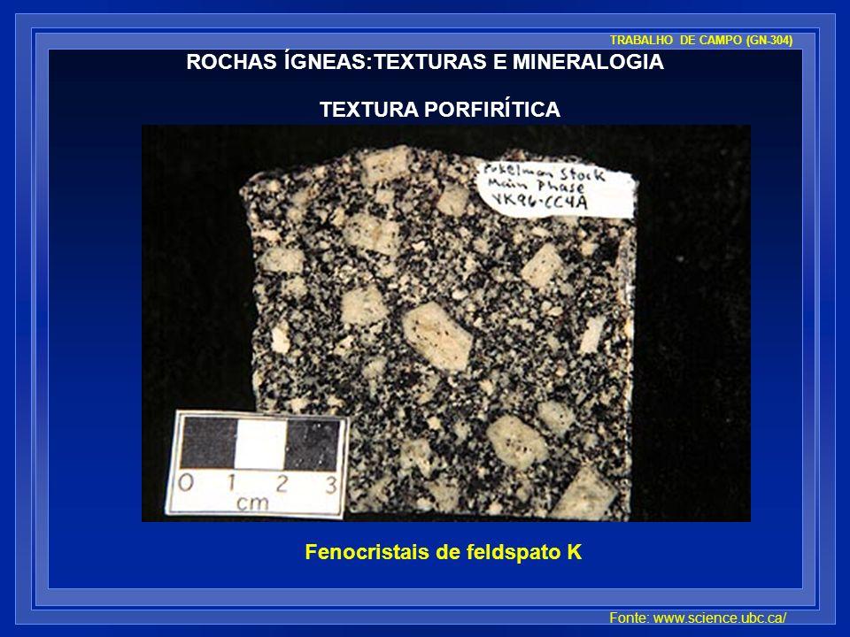ROCHAS ÍGNEAS:TEXTURAS E MINERALOGIA TEXTURA PORFIRÍTICA Fenocristais de feldspato K Fonte: www.science.ubc.ca/ TRABALHO DE CAMPO (GN-304)