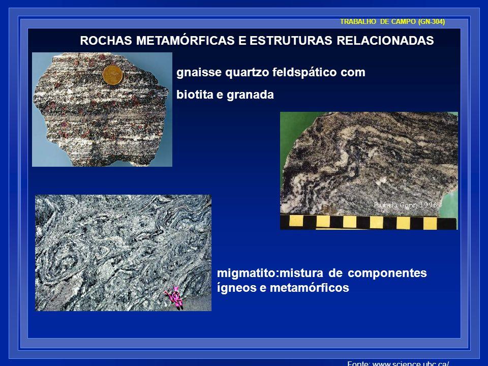 ROCHAS METAMÓRFICAS E ESTRUTURAS RELACIONADAS gnaisse quartzo feldspático com biotita e granada migmatito:mistura de componentes ígneos e metamórficos