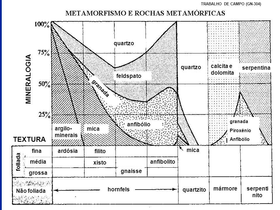 quartzo feldspato anfibólio calcita e dolomita serpentina granada Piroxênio Anfibólio mica argilo- minerais MINERALOGIA TEXTURA foliada Não foliada fi