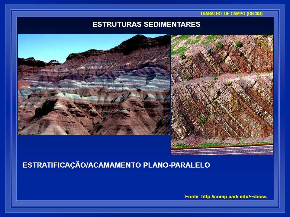 ESTRUTURAS SEDIMENTARES Fonte: http://comp.uark.edu/~sboss ESTRATIFICAÇÃO/ACAMAMENTO PLANO-PARALELO TRABALHO DE CAMPO (GN-304)