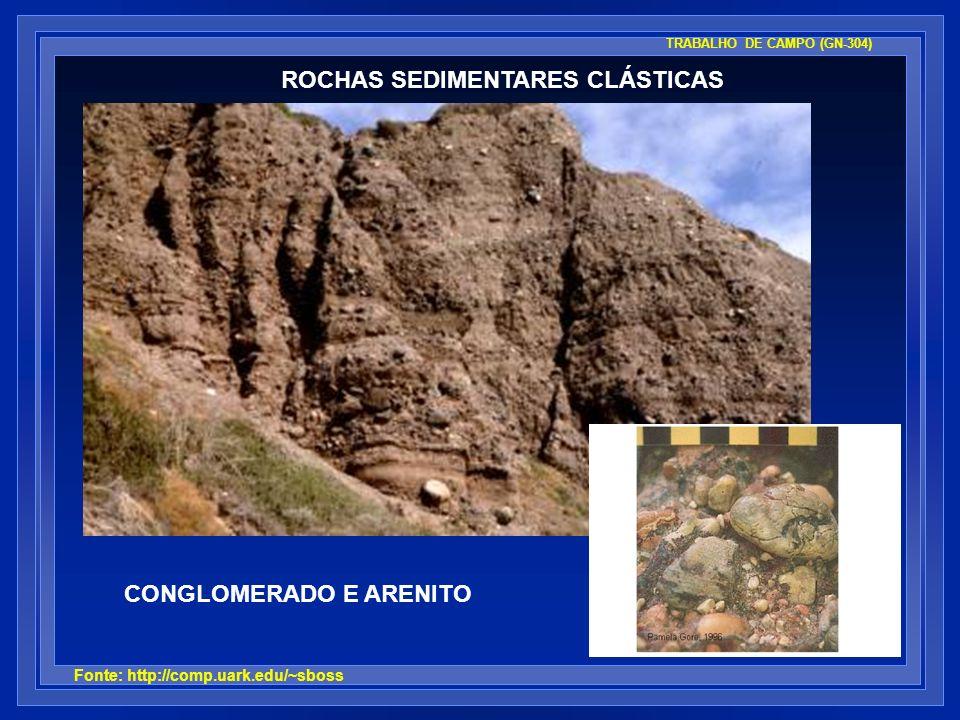 ROCHAS SEDIMENTARES CLÁSTICAS CONGLOMERADO E ARENITO Fonte: http://comp.uark.edu/~sboss TRABALHO DE CAMPO (GN-304)